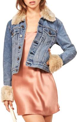 Reformation Aussie Faux Fur Trim Denim Jacket