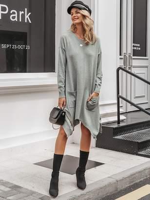 Shein Simplee Dual Pocket Hanky Hem Heather Grey Sweater Dress