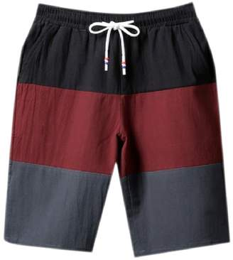 Trunks Zimaes-Men Pockets Athletic Hit Color Waistband Stretchy Shorts L