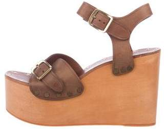 Celine Leather Wedge Sandals