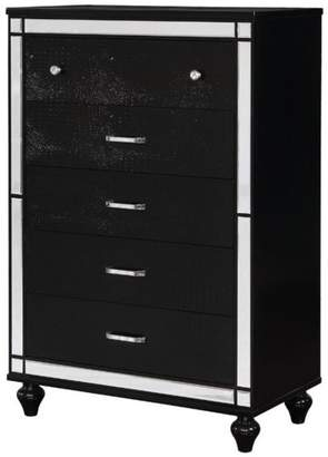 Benzara 5-Drawer Solid Wood Chest With Mirror Accent Trim Front