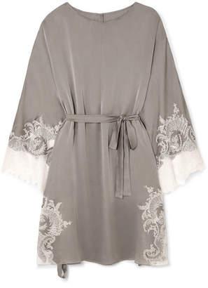 Carine Gilson Chantilly Lace-trimmed Silk-satin Kaftan - Light gray
