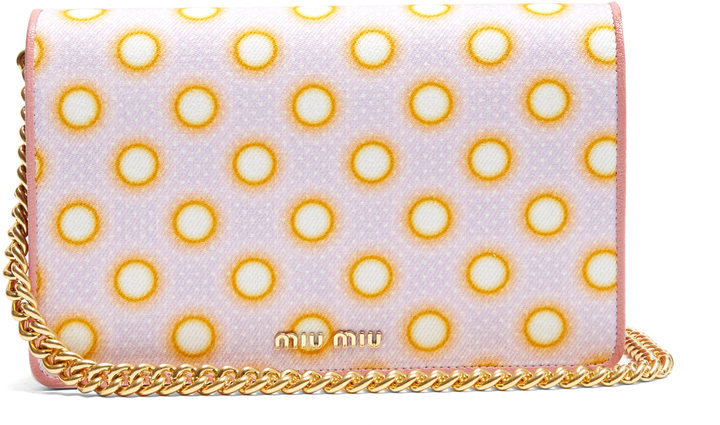 Miu Miu MIU MIU Circle-print canvas and leather cross-body bag