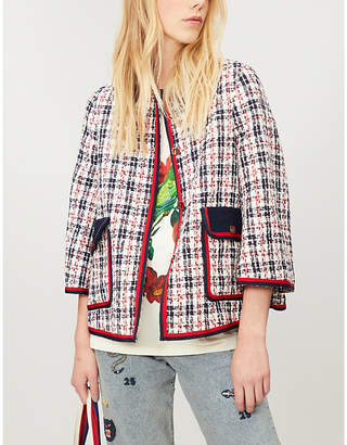 Gucci Grosgrain-trim tweed jacket