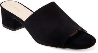 Raye Black Cara Block Heel Slide Sandals