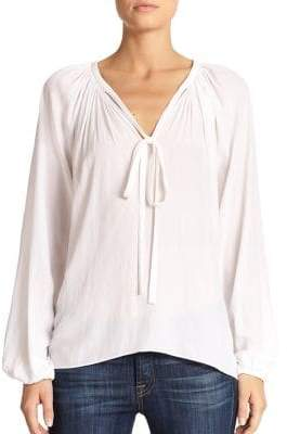 Ramy Brook Paris V-Neck Shirred Blouse