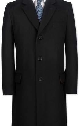 Charles Tyrwhitt Slim fit black wool and cashmere overcoat