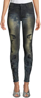 Robin's Jeans Gothic Embroidered Skinny Jeans