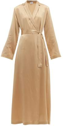 La Perla Notch Lapel Silk Charmeuse Robe - Womens - Nude