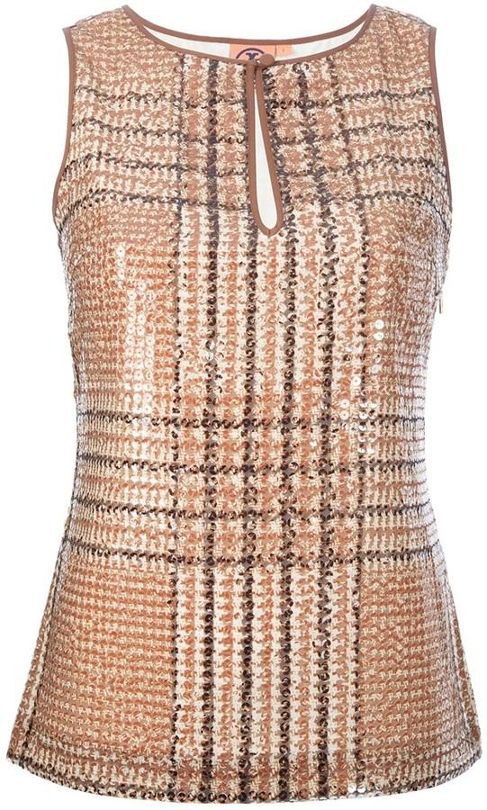 Tory Burch sequinned tartan sleeveless top