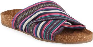 Figue Suki Flat Striped Silk Cork Slide Sandal