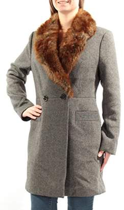 French Connection Women's Tweed Coat with Faux Fur Collar