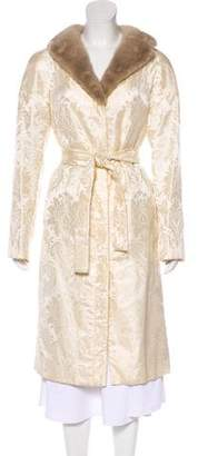 Dolce & Gabbana Vintage Fur-Trim Jacquard Long Coat