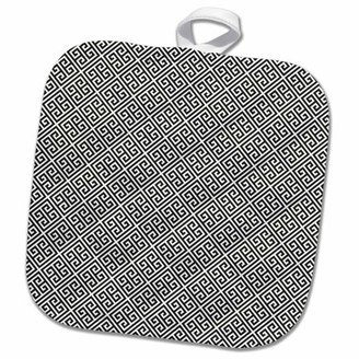 3dRose Black and White Greek Key Pattern - Pot Holder, 8 by 8-inch