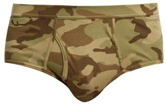 THE WHITE BRIEFS Camouflage Print Briefs - Mens - Green Multi