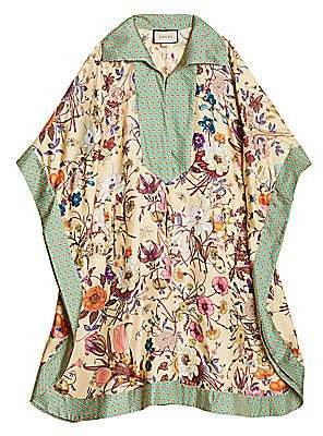 Gucci Men's Floral-Print Silk Twill Caftan Dress