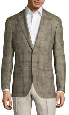 Isaia Giacca Wool Plaid Jacket