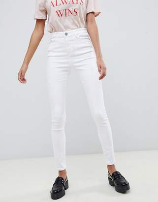 Asos Design DESIGN Ridley high waisted skinny jeans in optic white