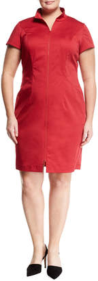 Lafayette 148 New York Plus Camber Zip-Front Sheath Dress, Plus Size