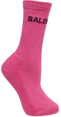 Balenciaga Intarsia Ribbed Cotton-blend Socks - Pink