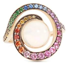 Noor Fares - Spiral Grey Gold Ring - Womens - Multi