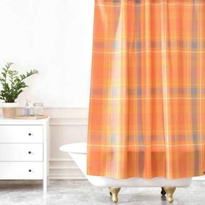 Allyson Johnson Fall Time Plaid Shower Curtain in Orange