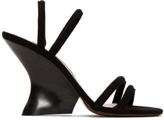 ALEXACHUNG Black Suede Perfect Wedge Sandals
