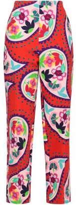 DELPOZO Printed Cotton-jacquard Tapered Pants