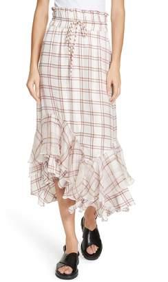 Lee MATHEWS Holly Check Ruffle Skirt