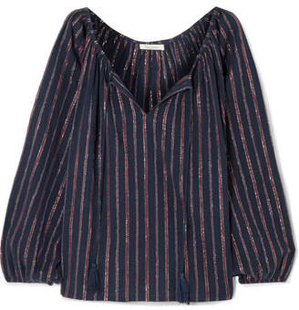 Mes Demoiselles Elize Lyrical Metallic Striped Cotton-blend Blouse - Midnight blue