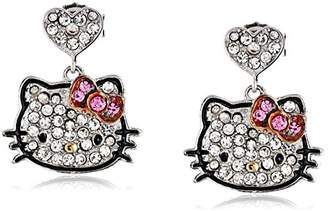 "Hello Kitty Black Outline"" Sterling Pave Crystal Face Pink Crystal Bow Round Heart Drop Earrings"