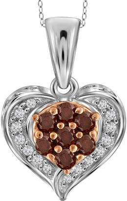 FINE JEWELRY 1/4 CT. T.W. White & Color-Enhanced Red Diamond Sterling Silver Heart Pendant