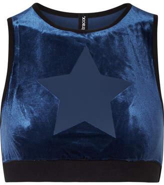 Ultracor - Knockout Appliquéd Stretch-velvet Sports Bra - Midnight blue