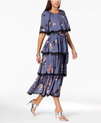 AVEC LES FILLES Floral-Printed Tiered Lace-Trim Capelet Maxi Dress