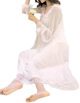 Wenko Joe JWK Womens Long Sleepwear Lace Ruffles Thin Casual Sleep Dress  Nightgowns M 4dba98886