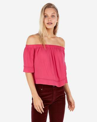 Express Off The Shoulder Embroidered Trim Top