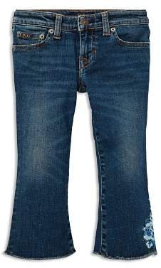 Ralph Lauren Girls' Embroidered Cropped Flared Jeans - Little Kid