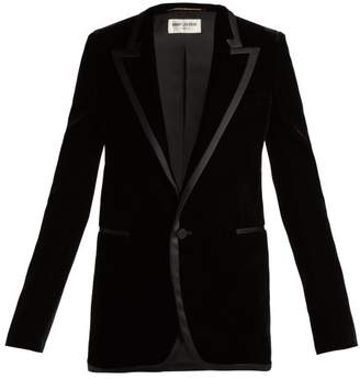 Saint Laurent Satin Trimmed Velvet Blazer - Womens - Black
