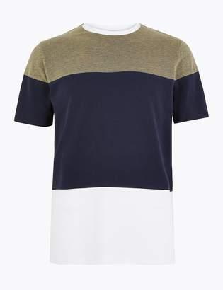 Marks and Spencer Cotton Colour Block Pique T-Shirt