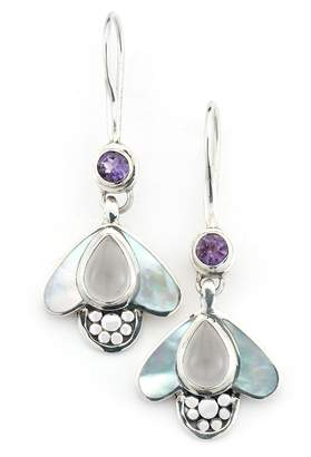 Mother of Pearl Samuel B Jewelry Sterling Silver Mother of Pearl, Quartz, & Amethyst Bumble Bee Drop Earrings