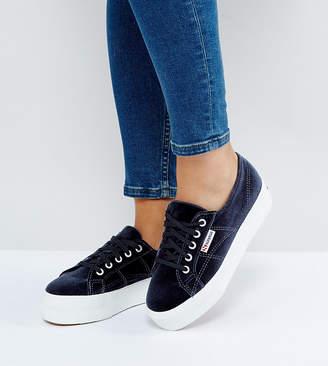 Superga 2790 Velvet Flatform Sneakers In Gray