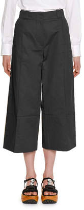 Marni Wide-Leg Cropped Cotton-Linen Pant