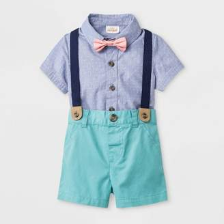53bab32f3374 Cat & Jack Baby Boys' Short Sleeve Woven Bodysuit with Bowtie and Shorts  Blue/