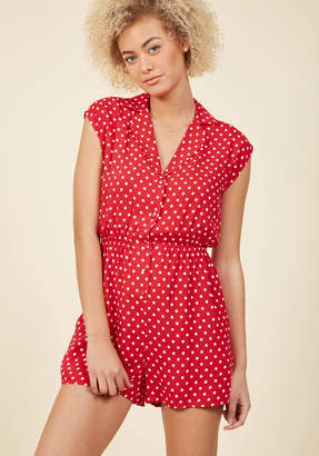 ModCloth Read It and Steep Romper in Red Polka Dot in S $54.99 thestylecure.com
