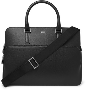 HUGO BOSS Full-Grain Leather Briefcase - Men - Black