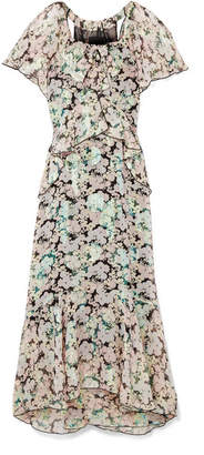Anna Sui Night Bloom Printed Fil Coupé Silk-blend Chiffon Midi Dress - Green