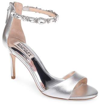 Badgley Mischka Women's Sindy Leather Embellished Ankle Strap High Heel Sandals