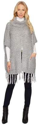 Steve Madden Fuzzy Knit Split Front Turtleneck Poncho Women's Clothing