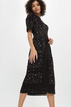 Topshop Lace Yoke Ditsy Midi Dress