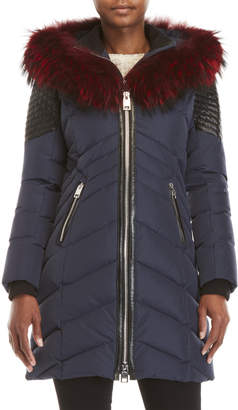 Nb Series By Nicole Benisti Real Fur Trim Quilted Coat